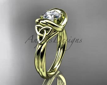"""14kt yellow gold trinity celtic twisted rope wedding ring with a """"Forever One"""" Moissanite center stone RPCT9146"""
