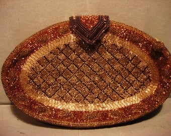 Vintage Boho Gypsy Chic Gold and Tan Beaded Clutch Handbag