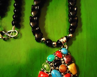 Handcrafted Boho Black Beaded Southwestern Multi Color Necklace