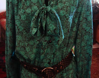 Vintage 1980s Black and Green Front Button Dress