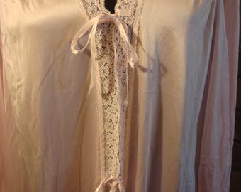 RESERVED Vintage Light Pink Pastel Tie Bow Gown