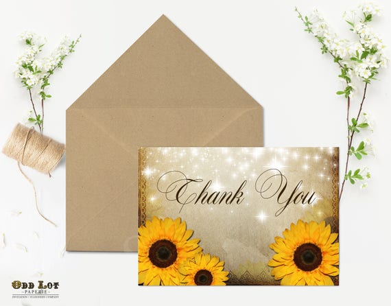 Rustic sunflower thank you card folded 5x7 printable thank you il570xn m4hsunfo