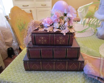 Book Storage Box, Shabby Chic, Romantic, Baby's Room, Jewelry Box, Desk caddy, Desk Organizer
