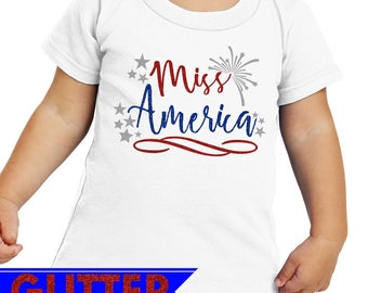 Miss America Glittery 4th of July T-Shirt / Infant Bodysuit / Toddler T-Shirt / Patriotic / Fourth of July Tshirt