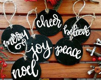 Christmas ornaments, chalkboard ornaments, Christmas wood ornaments, Christmas decorations, wood Christmas ornaments, 6pc set