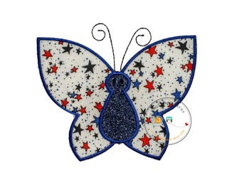 4th of July butterfly iron on applique patch