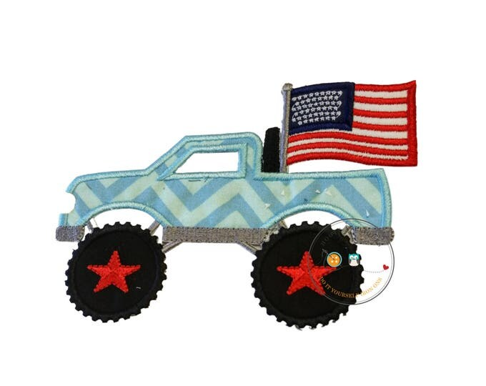 Patriotic monster truck fabric iron on applique, Embroidered red, white and blue monster truck, July 4th pick up truck iron on patch