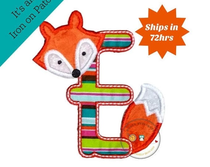 ON SALE NOW Woodland fox letter E machine embroidered iron on no sew patch, fox embroidered monogram letter e, ready to ship