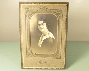 Woman in Glasses Photograph - Vintage 1930s Crystal Necklace Wavy Dark Hair