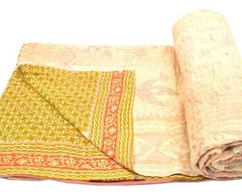 Vintage Kantha Quilt Gudri Reversible Throw Ralli Bedspread Bedding India OG1068