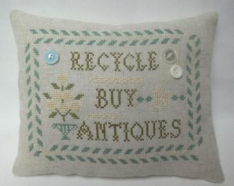 Recycle Buy Antiques Cross Stitch Mini Pillow Shelf Pillow