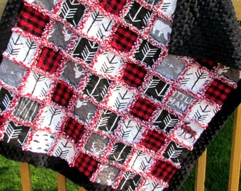 Red Black Gray & White Buffalo Plaid Rustic Lodge Woodland Stag Deer Arrow Print Minky Baby Rag Quilt- Stroller Blanket - Minky Baby Blanket