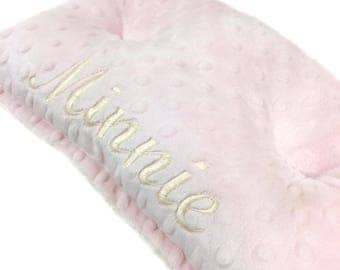 26x19 Dog Crate Mat , Baby Pink and Cream Minky Pet Bed, Personalized Pet Bed