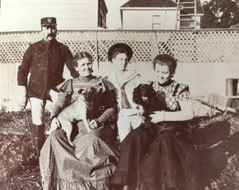 Sweet Victorian Photograph of Family with Their Dogs