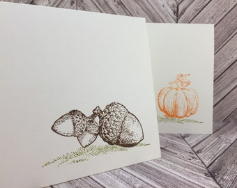 fall cards, pumpkin cards, acorn cards, autumn cards, fall wedding cards, thanksgiving cards, fall thank you cards, 8 cards