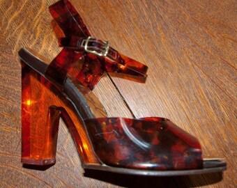 1960's Mod Vinyl Tortoiseshell high heel sandals