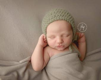 Sage Bonnet, Knit Bonnet, Knit Baby Hat, Sage Green, Newborn Photo Prop, Mohair Simple Classic Timeless Bonnet, Vintage Style, Boys or Girls
