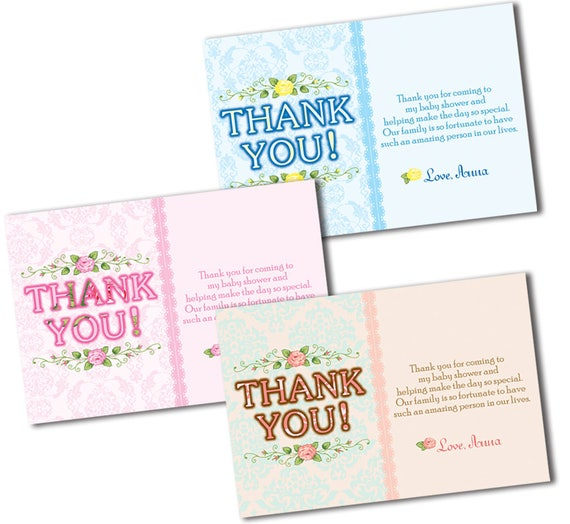 Shabby Chic Thank You Cards Baby Shower Thank You Cards Floral