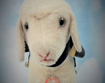 "SALE- v/ Large Steiff Antique Lamb ""Lamby"" ALL IDs  Handmade German Toy Easter Collectible 1959-67  Ex. Condition RARE !"