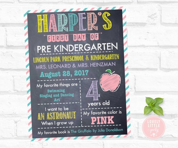 Digital Back to School Poster, School First Day of Poster, School Poster - Lovely Little Party