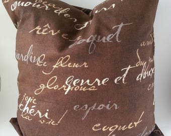 Pillow Cover - French Script Pillow - Brown Pillow Cover-  French Pillow - French Country -  French Decor - Bohemian Style
