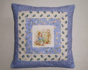 Beatrix Potter's PETER RABBIT Patchwork Nursery Cushion with Laura Ashley Fabrics