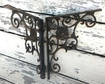 roses cast metal brackets vintage shelf hardware rustic cottage chic indoor - Farmhouse Garden Decor