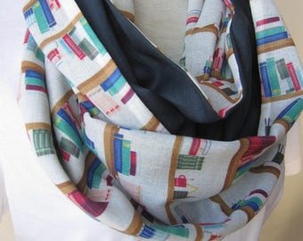 Bookshelf scarf- library print scarf long infinity men's book scarf- women's Librarian Scarf Geek Literary Book Lover Gift Ideas gauze linen