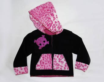 Sweater/jacket Girly fleece two-tone black and pink