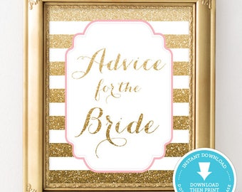 Wedding Shower Sign Gold and pink  - advice for the bride - Gold and Pink bridal shower -  Bridal Shower Decor