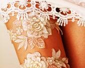 Wedding Garters Bridal Garter Set Bridal Shower Gift - Gold Ivory Lace Garter - Keepsake Garter Toss Garter Included Wedding Gift