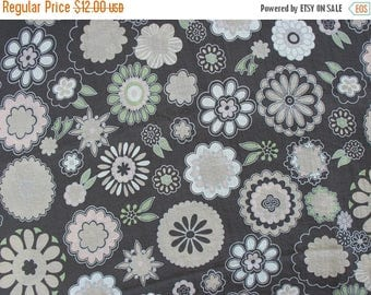 40% OFF Synthetic Fabric with Circles Flowers Dusty Brown Pale Pink Beige and Green Flowers - 3 3/8 Yards - MSF0882