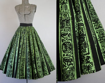 1950's Green and Black Mexican Hand Painted Circle Skirt / Size Small