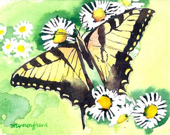 ACEO Limited Edition 1/25 - Summer butterfly, Art print of an original ACEO watercolor painted by Anna Lee