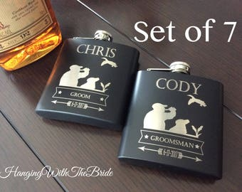 Set of 7 Personalized Flask Groomsmen Gift Box - Groomsmen Flask Set - Gifts for Groomsmen - Monogram Flask - Custom Flask Set for Groomsmen