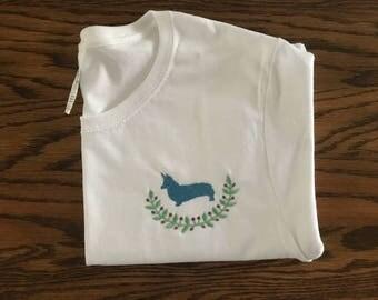Embroiderd corgi shirt