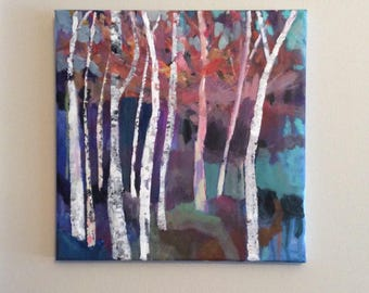 The Gathering, 12 x 12 inches original acrylic painting on standard canvas, optional resin finish additional fee, forest painting
