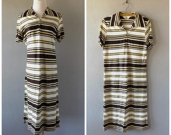 striped 70s midi dress - vintage brown yellow white stripe shirt dress - size 16 l / large - grunge hipster short sleeve pullover - 1970s