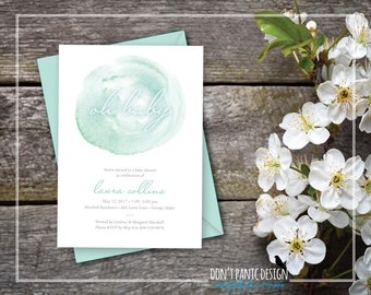 Printable Baby Shower Invitation - Oh Baby! Elegant Mint Green Watercolor Printable Invitation for Baby Shower - 5x7 invitation