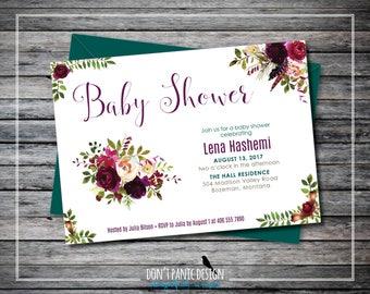 Printable Flower Baby Shower Invitation - Rustic Rose Invitation - Red and Green Baby Shower Flower Invitation - Custom Colors
