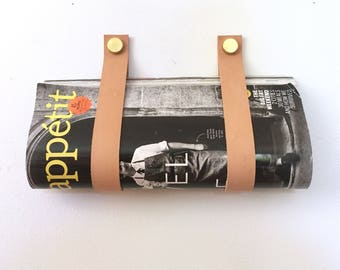 Veg Tan Nude Magazine Straps leather and brass wall mount wine holder and magazine rack