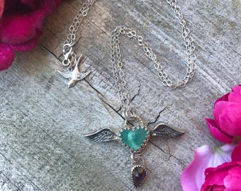 Winged Heart Necklace - Kingman Turquoise and Garnet