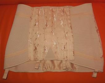 Unworn Vintage 1960s Girdle Satin and Elastic Beige Open Bottom Girdle Garters Floral Brocade Pinup Rockabilly XXL waist to 44 in