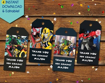 Transformers Thank You Tags,  Transformers Party Favors, Transformers Tags, Transformers Birthday Tags, Party Tags, Gift Tags, Bumble Bee