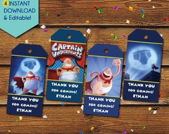 Captain Underpants Thank You Tags,  Captain Underpants Party Favors, Captain Underpants Gift Tags, Birthday Tags, Party Tags, Favor Tags