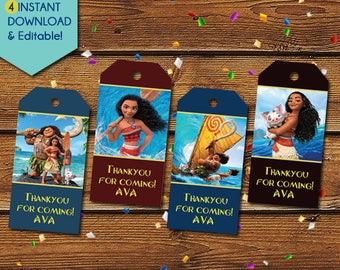 Moana Thank You Tags, Moana Party Favors, Moana Favor Tags, Moana Birthday Tag, Moana Party Tag