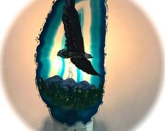 Agate Night Lights  Swivel Plug in  Hand Painted Oils Mountain Eagle