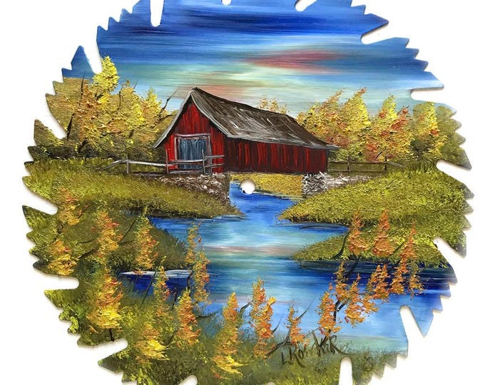 Hand Painted Saw Blade Mountain Fall Covered Bridge