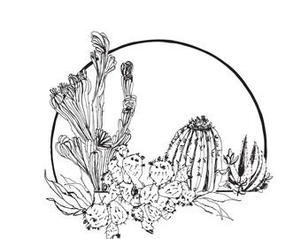 Cactus Card, Greeting Card, Art Card, Illustrated Card, Blank Notecard