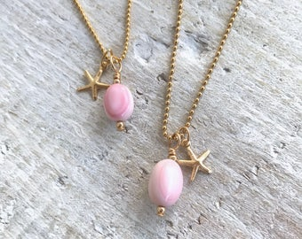 Conch Shell + Starfish Charm Necklace (14kt gold filled)